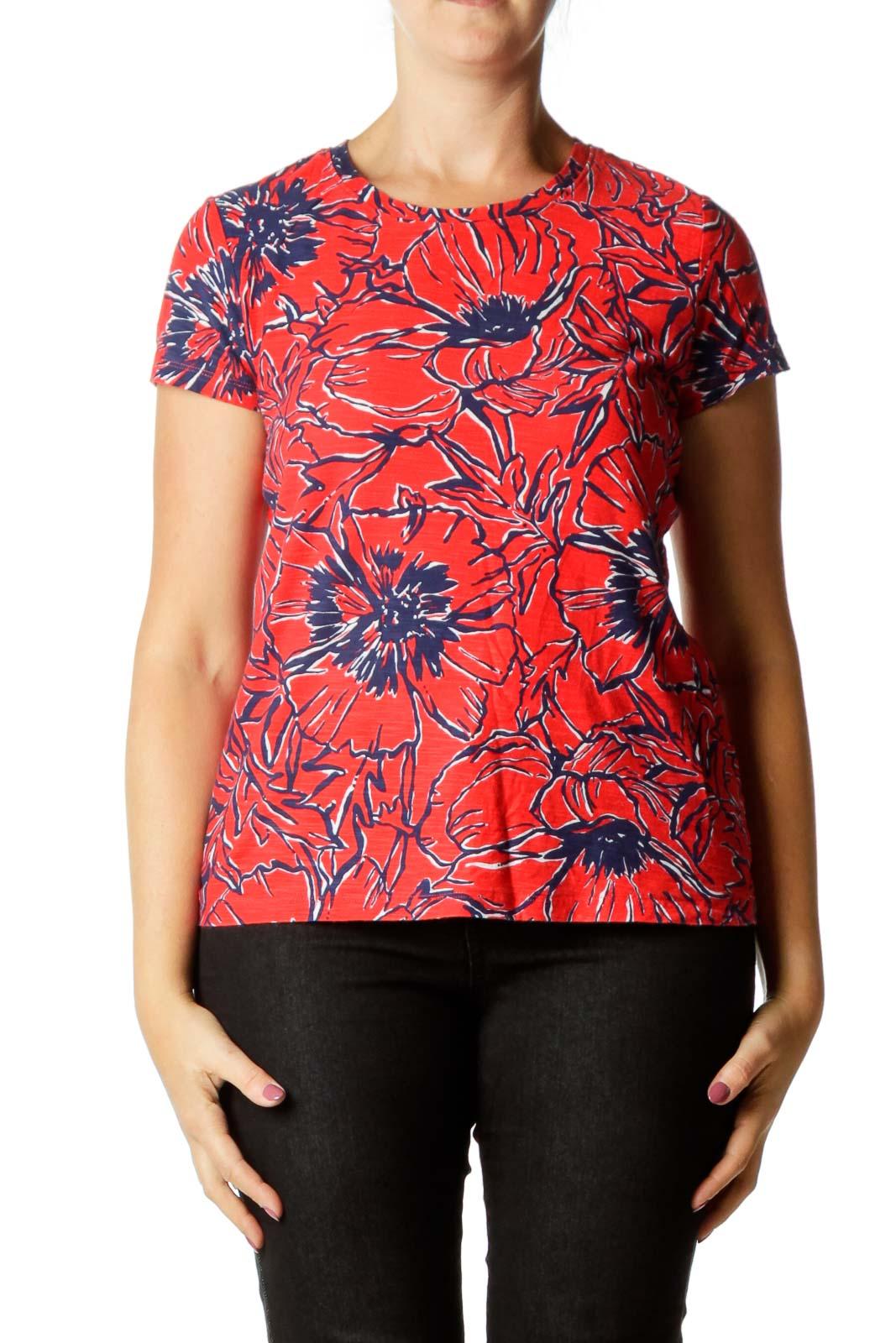 Red Blue Printed Soft T-Shirt