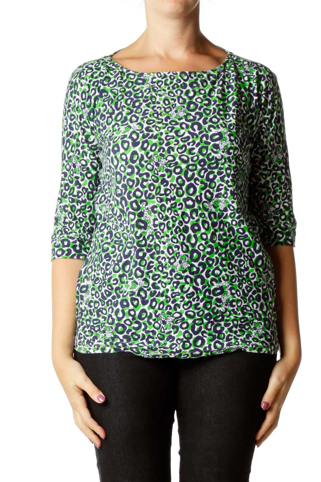 Green Blue Cheetah Print Top