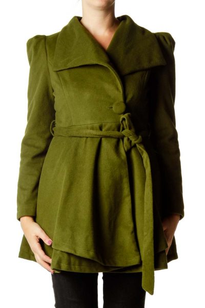 Green Fleece Flared Coat