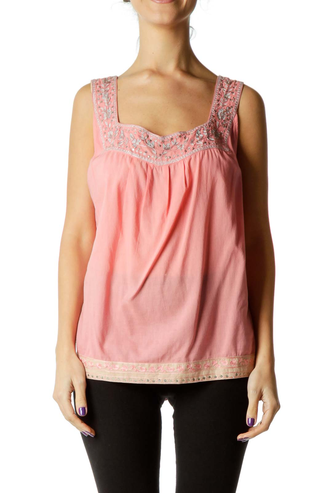 Pink Sequined Embroidered Tank Top