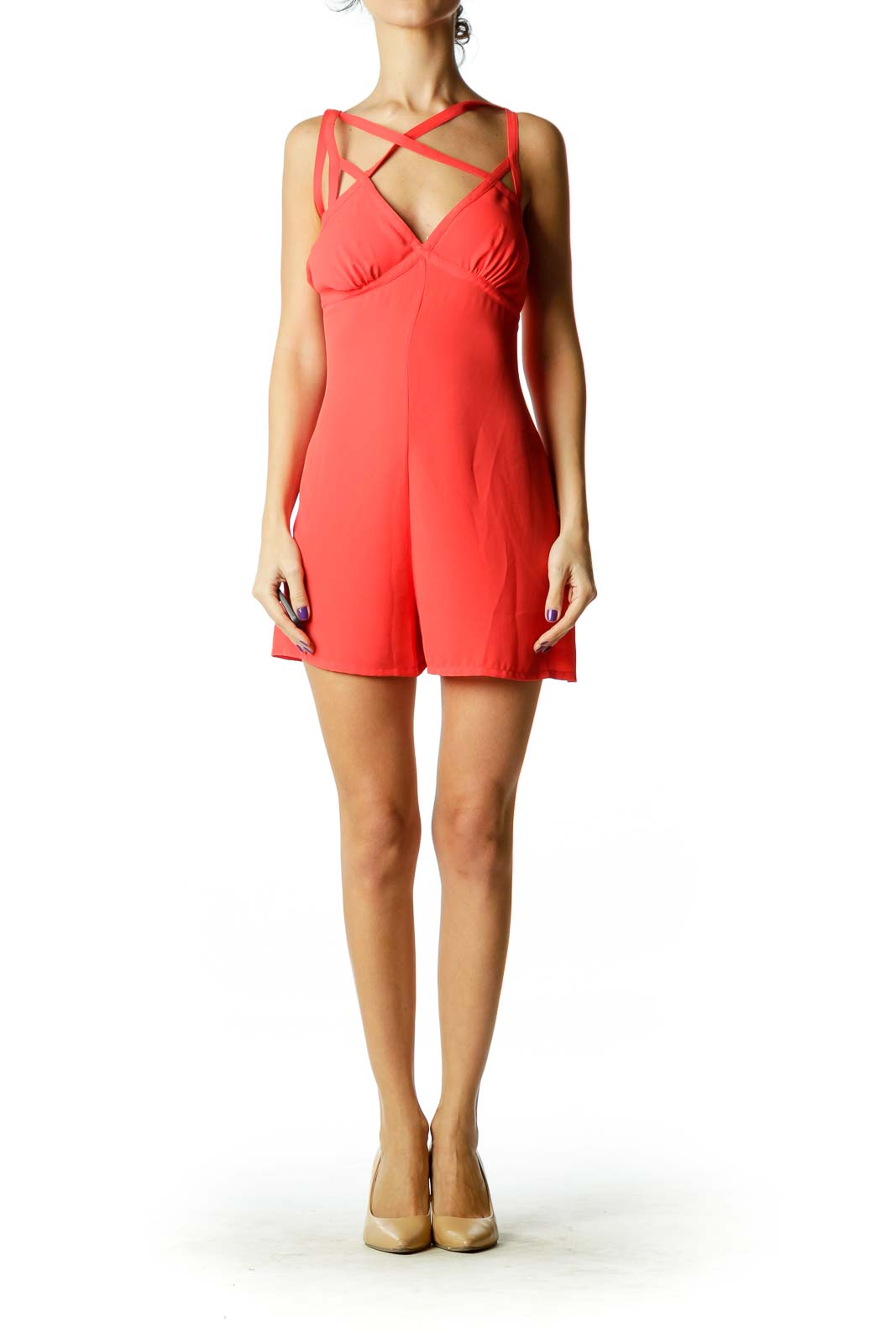 Orange Strapped Romper