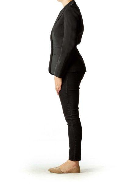 Black Pinstripe Satin Blazer