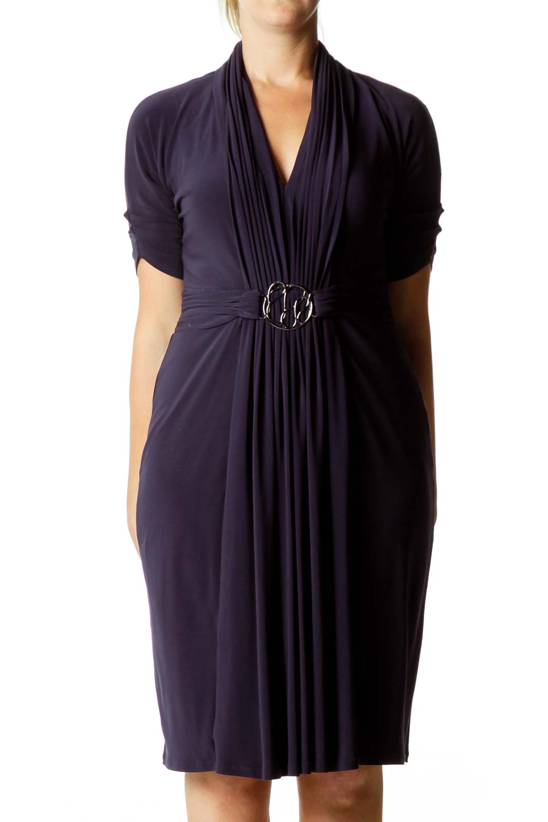 Purple Belted Cocktail Dress