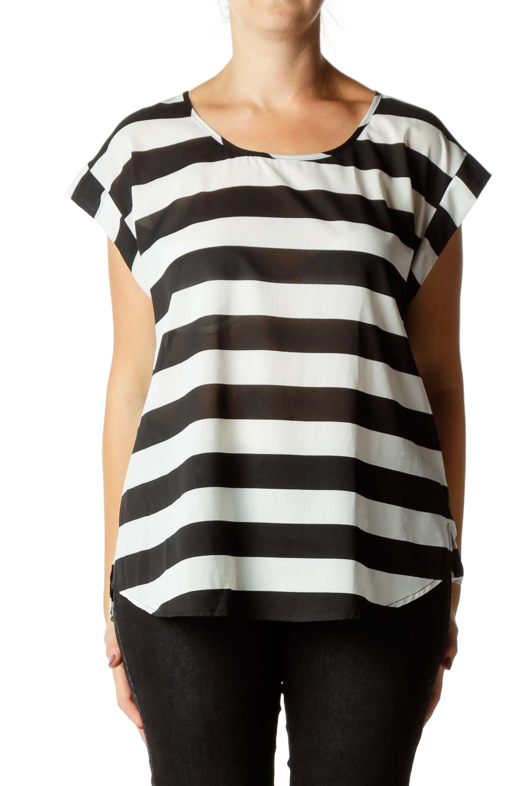Black White Striped Blouse