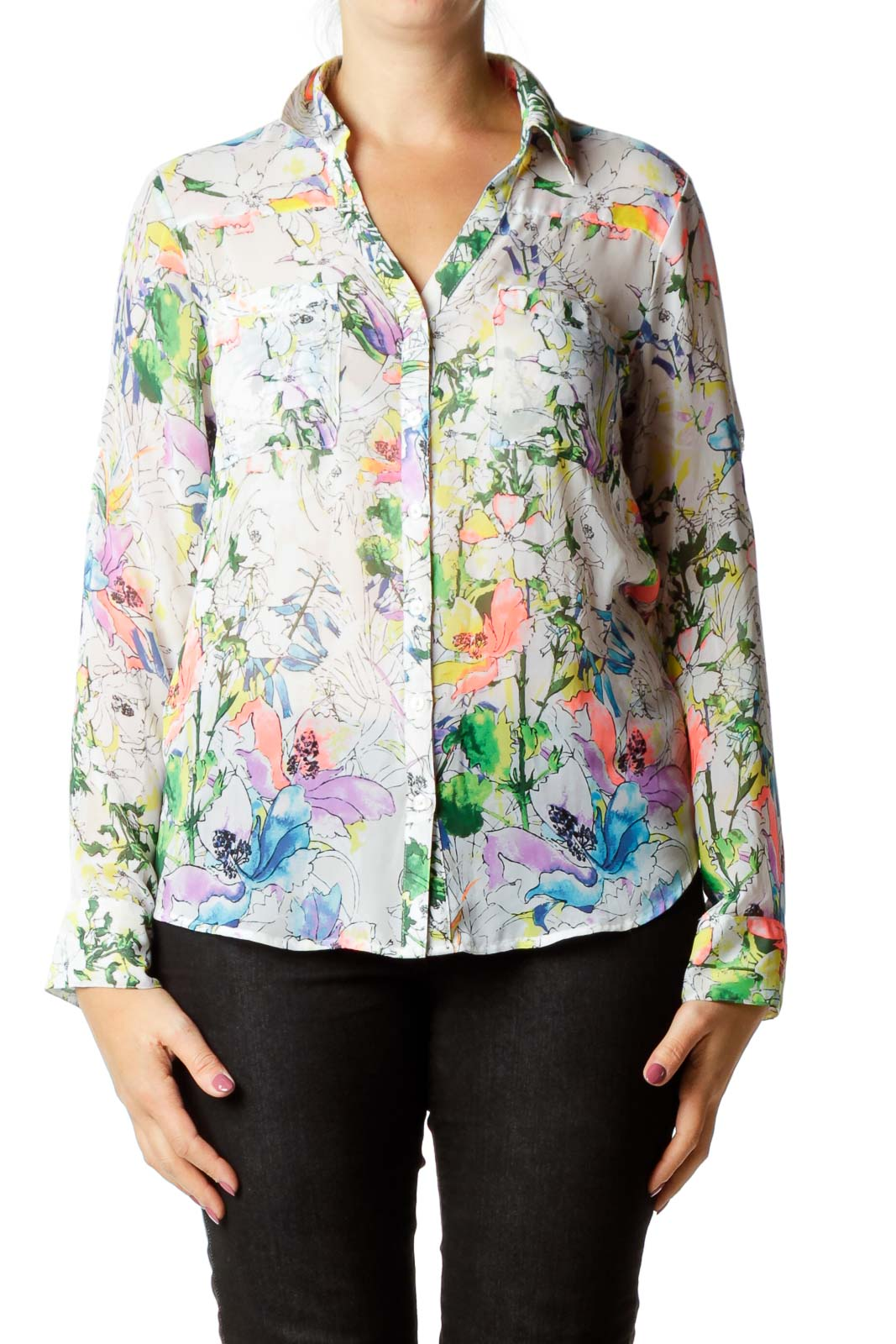 White Multicolor Print Blouse