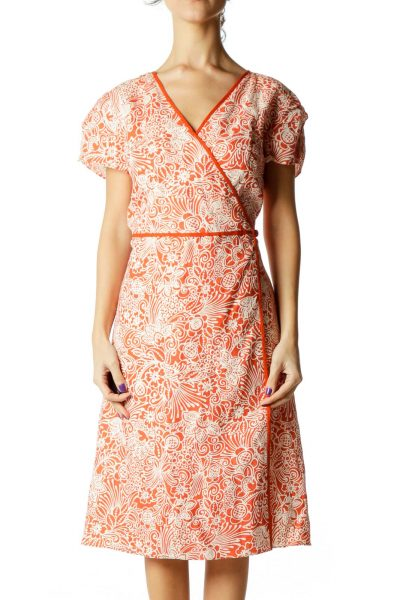 Orange White Print Wrap Dress