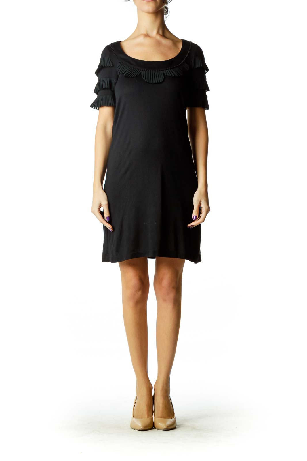 Black Pleat Detailed Dress
