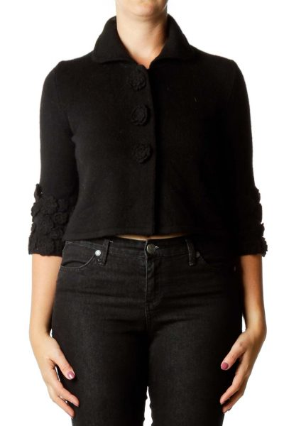 Black Flower Cropped Cashmere Cardigan