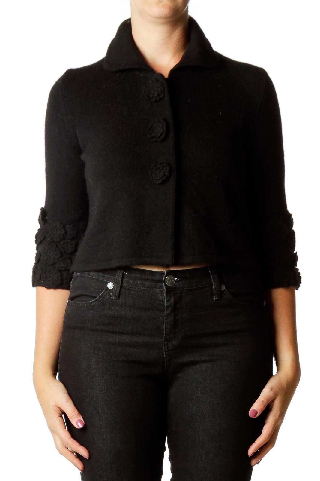 Black Flower Cropped Cashmere Cardigan