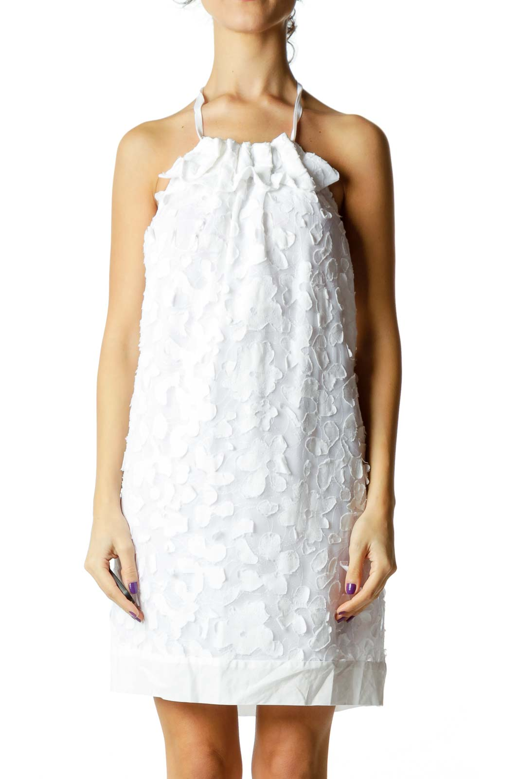 White Embroidered Floral Halter Dress