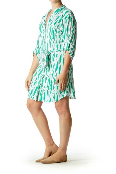 White Green Print Belted Button Down Dress