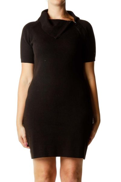 Black Zipper Detail Petit Knit Dress