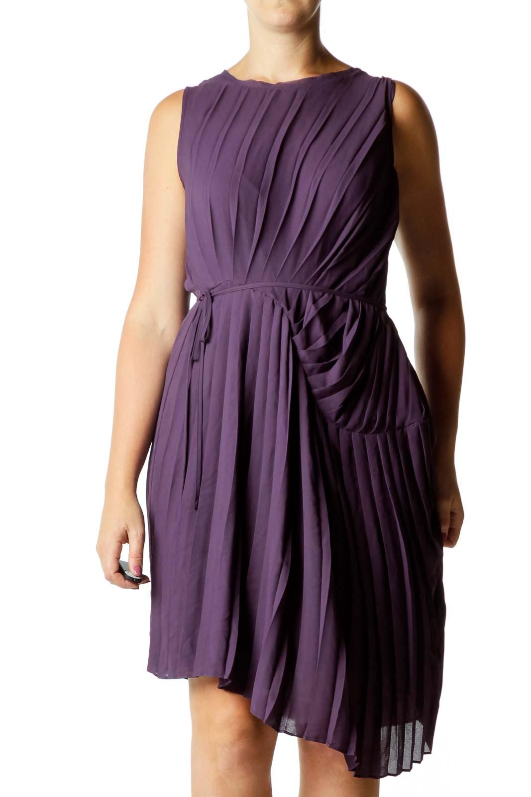 Purple Pleated Cocktail Dress