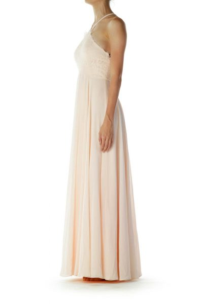 Peach Lace Detailed Evening Dress