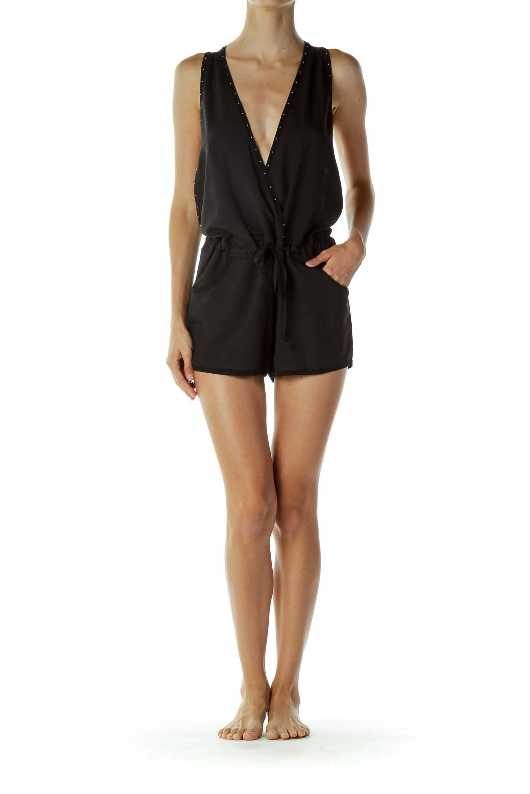 Black Studded Romper