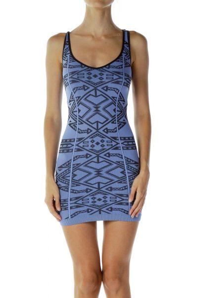Blue Black Tribal Print Dress