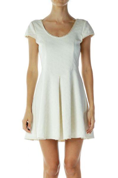 Cream Cap Sleeve Dress