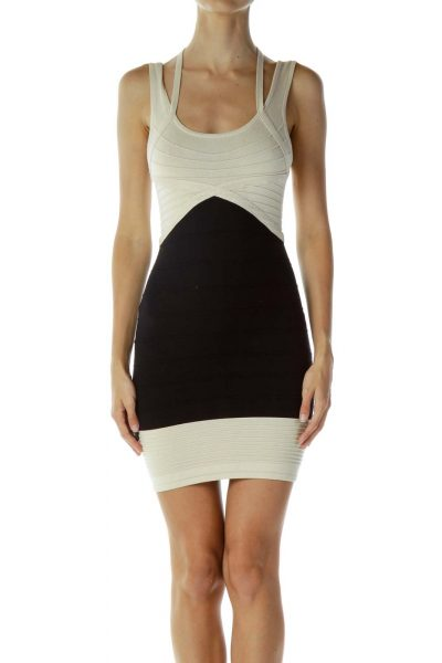 Beige Black Body-Con Dress