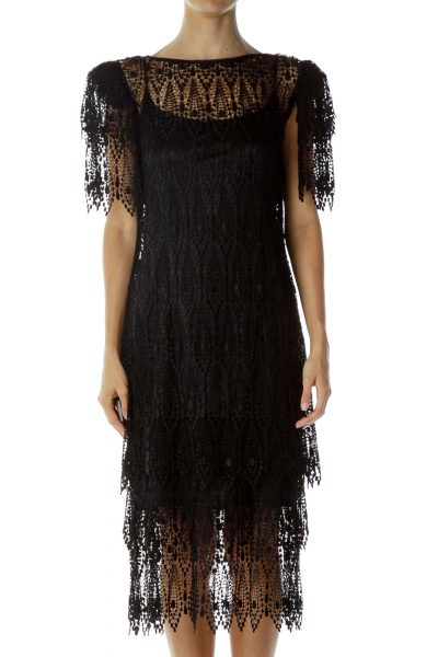 Black Two-Piece Lace Dress