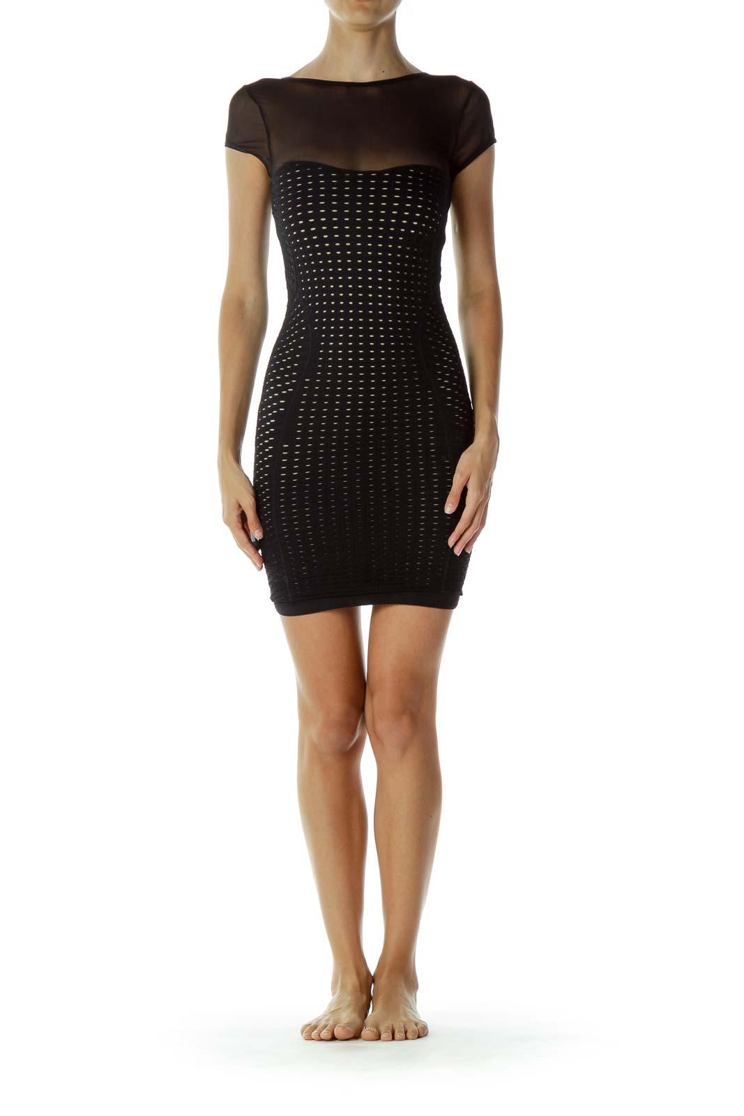 Black Crocheted Body-con Dress