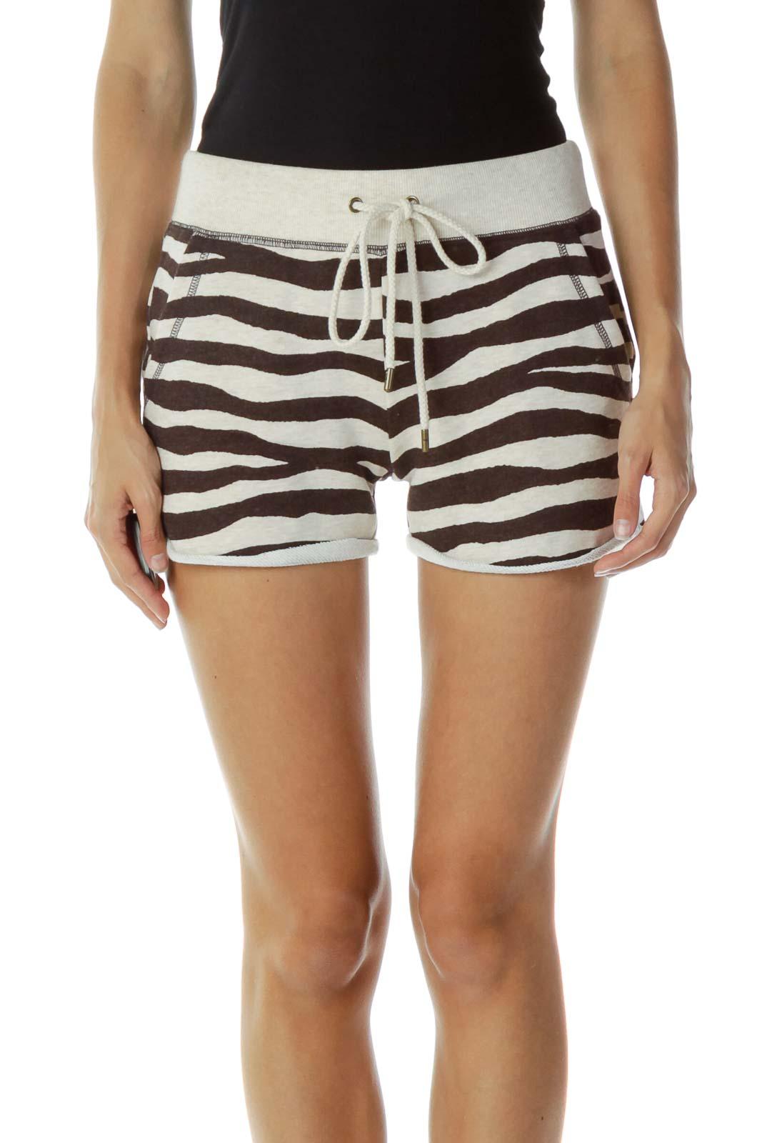 Brown Beige Striped  Drawstring Shorts