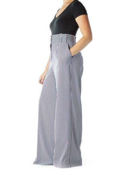 Blue White Striped Wide-Leg Pants