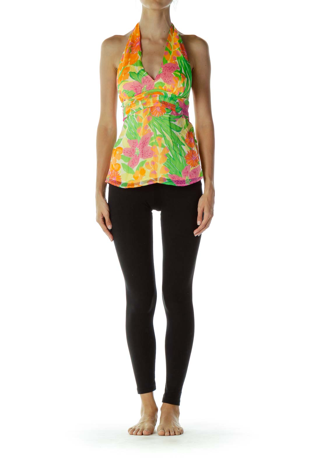 Multicolor Flower Halter Silk Tunic