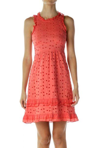 Orange Flower Ruffled Embroidered Day Dress