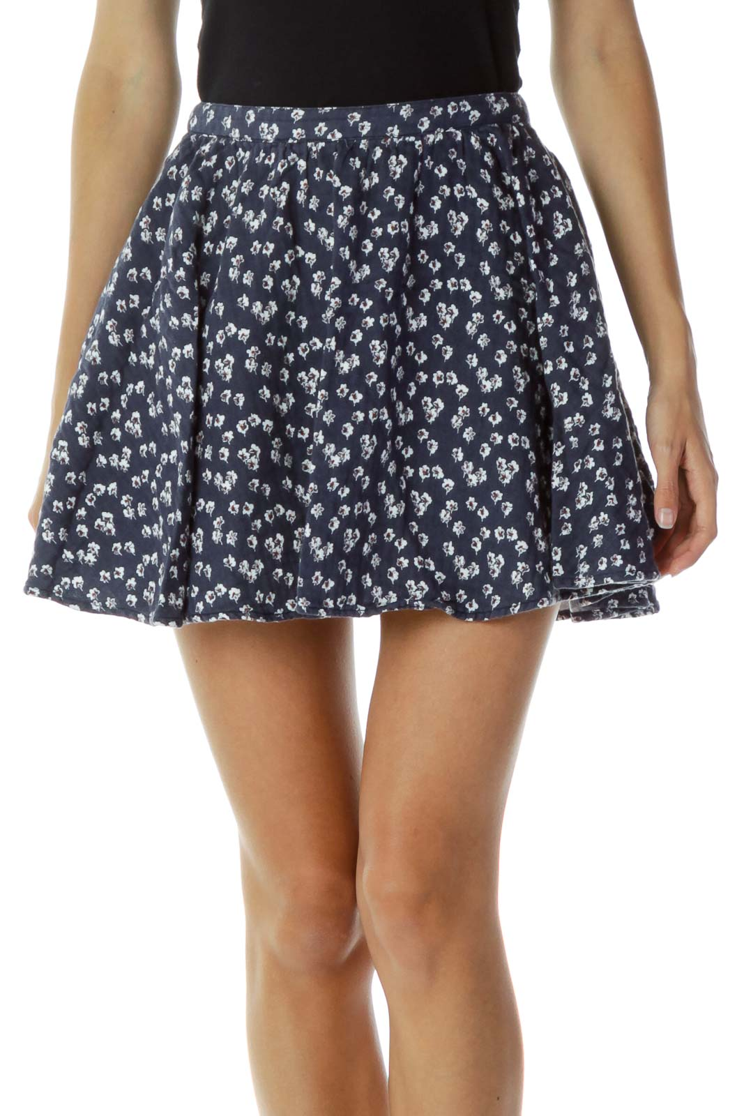 Navy Floral Mini Skirt