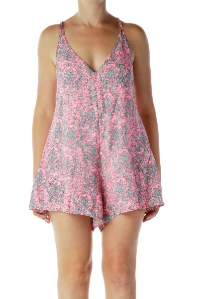 Pink & White Printed Romper