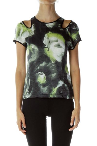 Black Green White Slitted Top