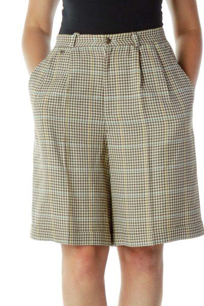 Beige Brown Checkered Wide-Leg Shorts