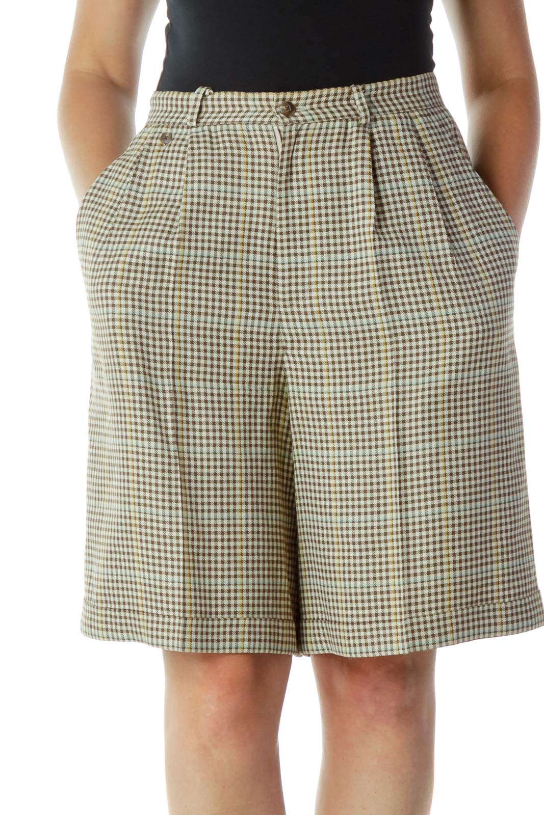 Beige Brown Checkered Wide-Leg Shorts