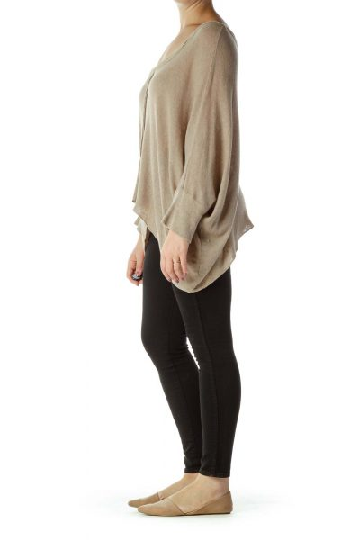 Brown Bat-Sleeve Knit Top