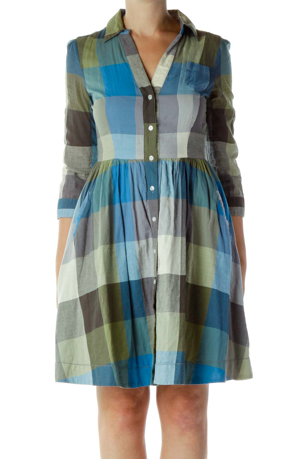 Blue & Green Gingham Dress