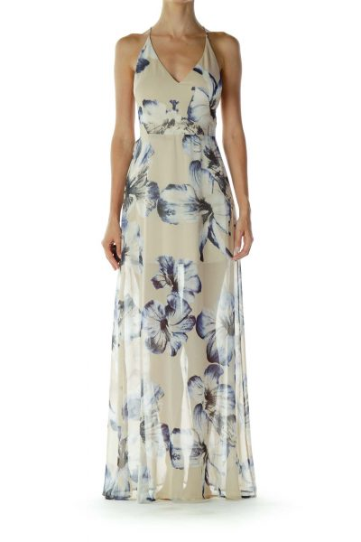 Beige & Blue Floral Maxi Dress