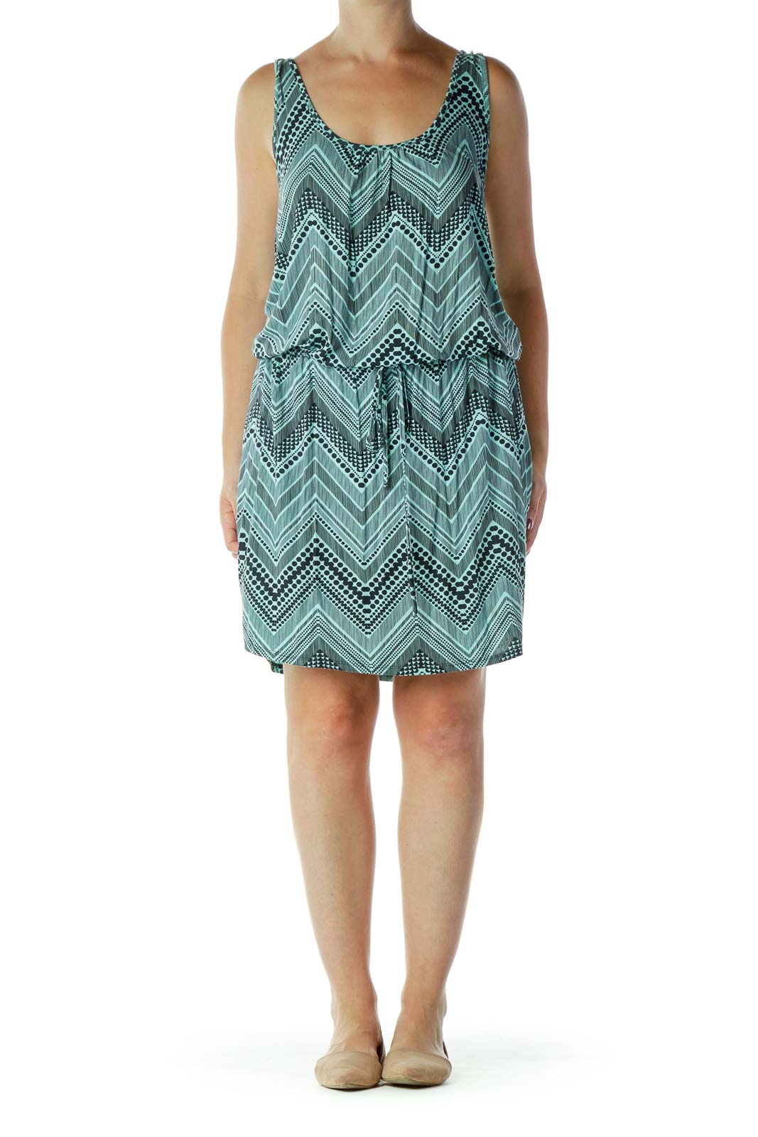 Teal & Black Chevron Dress