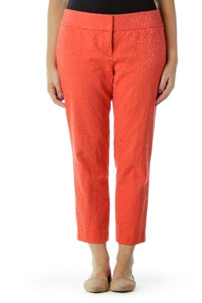 Orange Animal Embroidered Skinny Pants