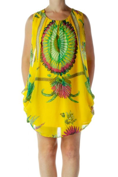 Yellow Feather Print Dress