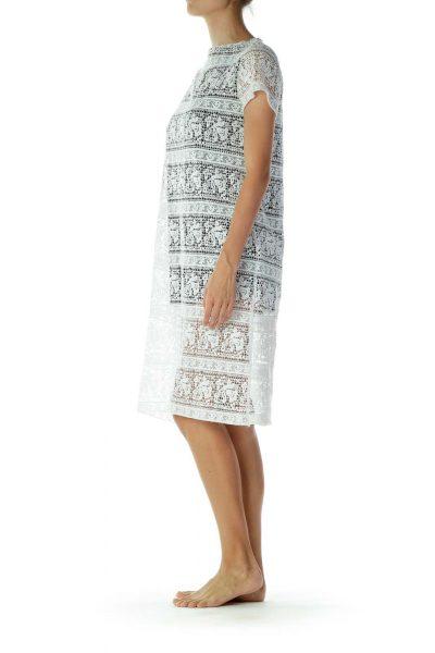 White & Black Lace Work Dress