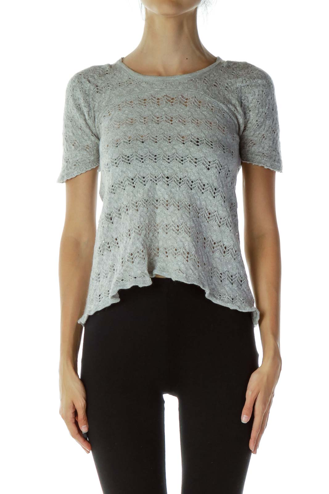Gray Open-Back Knit Top