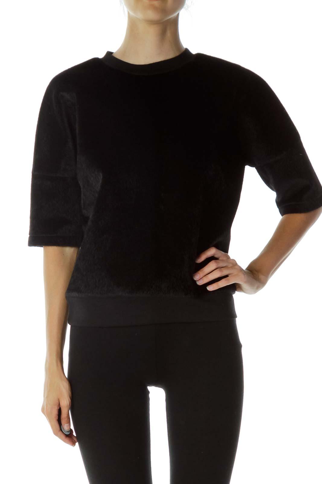 Black Faux-Fur Top