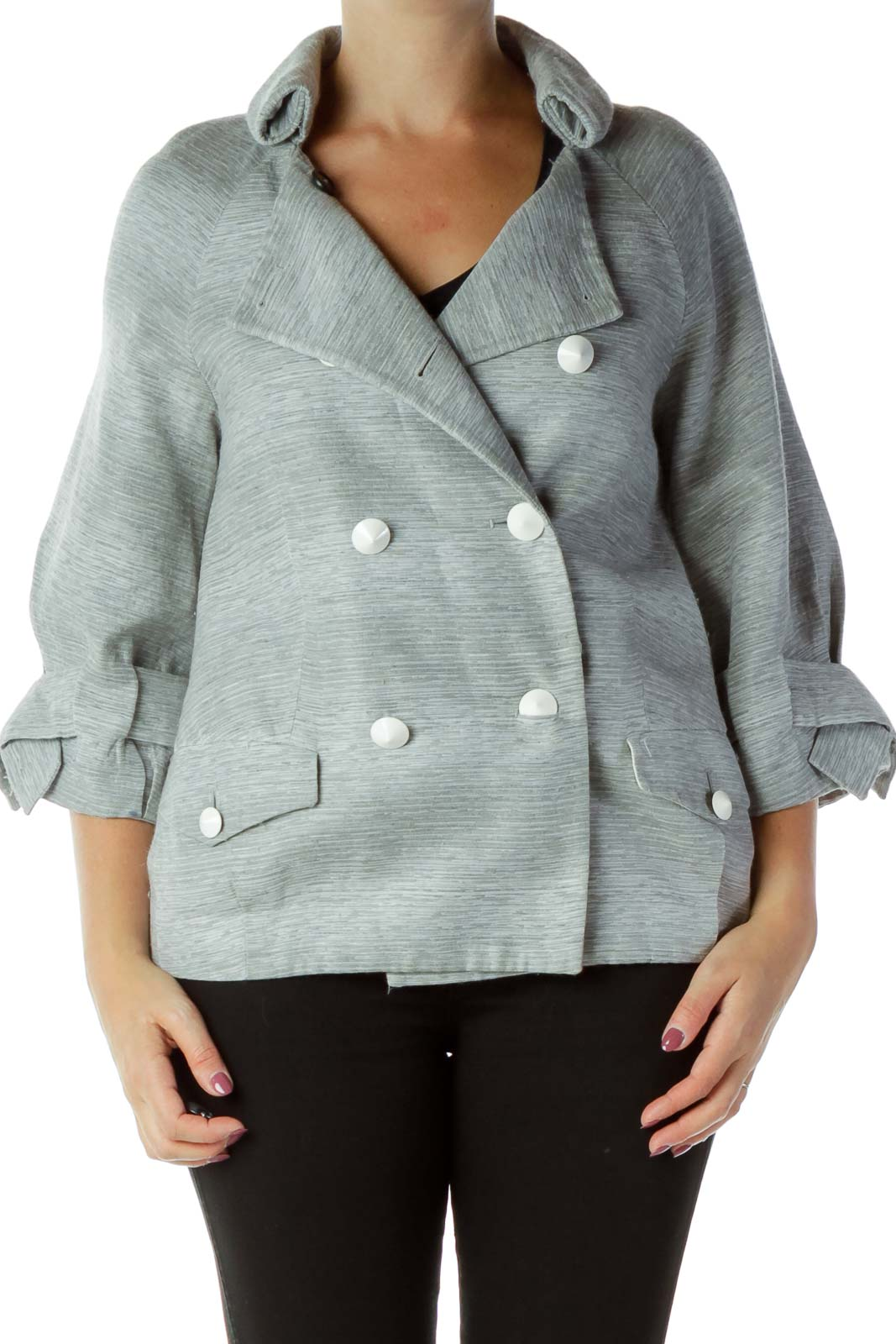 Gray Buttoned Suit Jacket