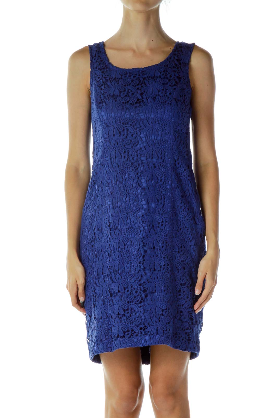 Blue Crocheted Cocktail Dress