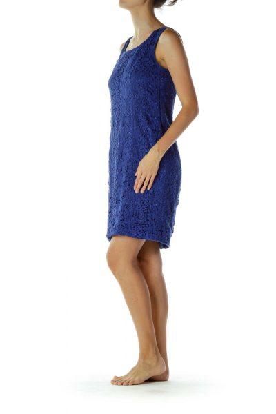 Blue Crocheted Cocktail Dress
