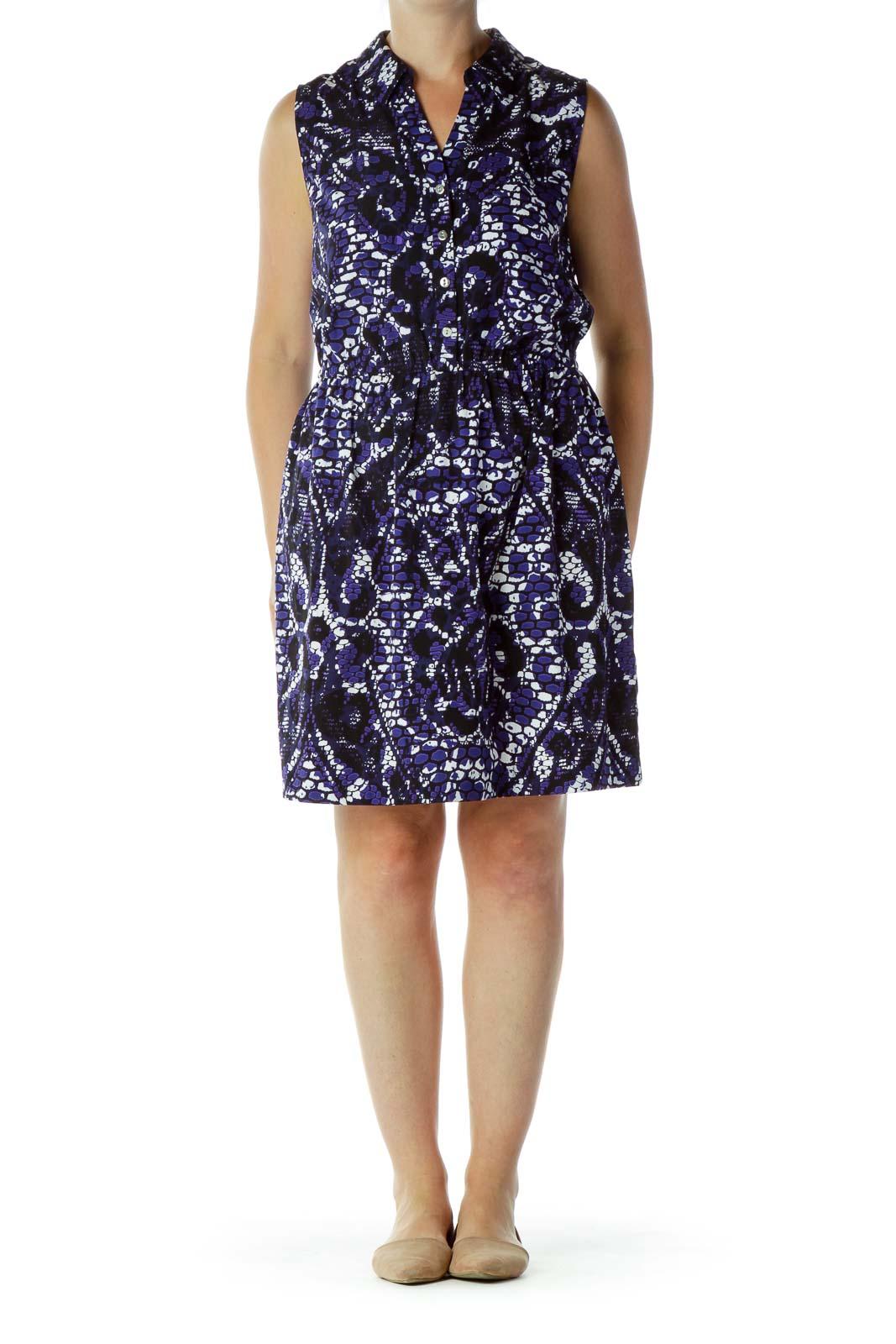 Purple Black Printed Work Dress