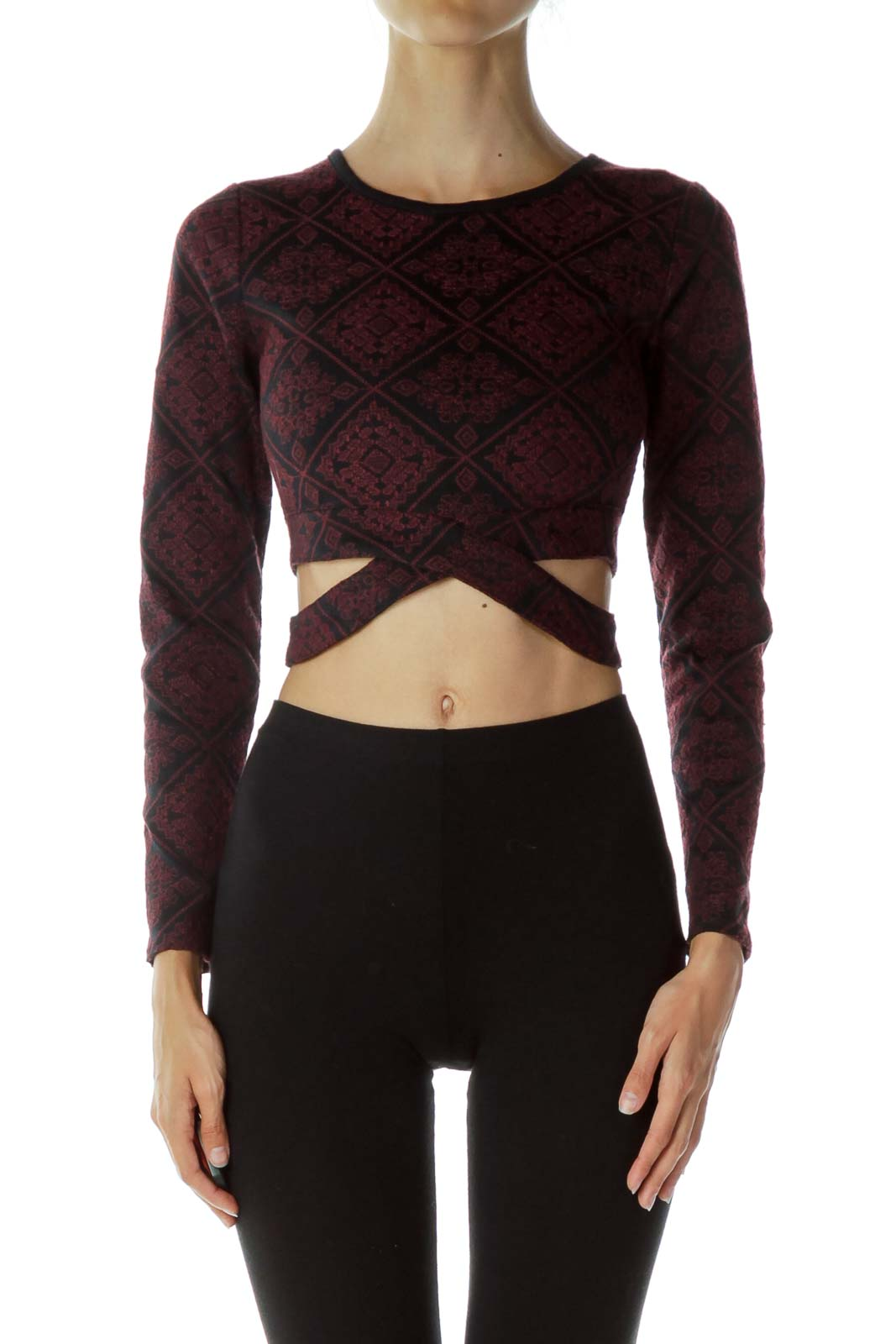 Red & Black Embroidered Crop Top