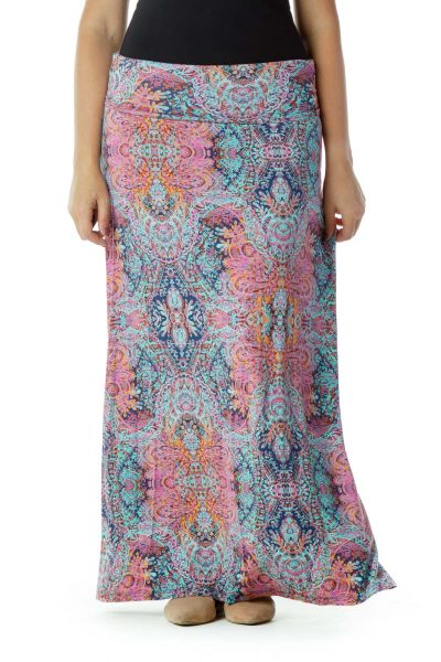 Multicolor Printed Maxi Skirt