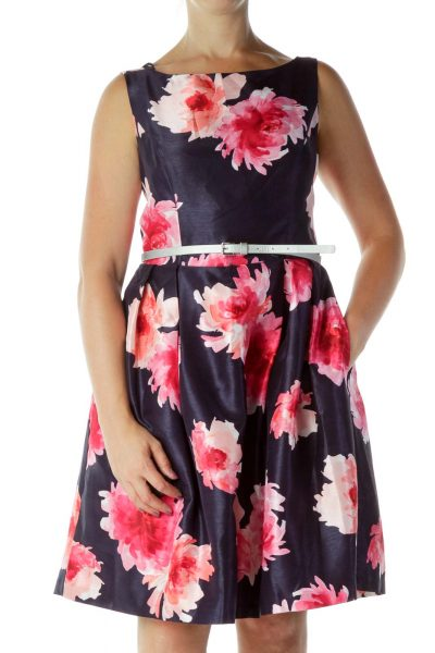 Navy Floral Work Dress
