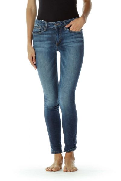 Blue Denim Skinny Ankle Jeans